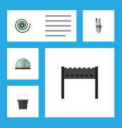 Flat icon farm set of barbecue pail pump and vector