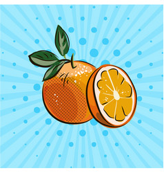 fresh oranges with green leaves on blue background vector image
