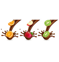 Fruit in chocolate splashes orange kiwi apple vector