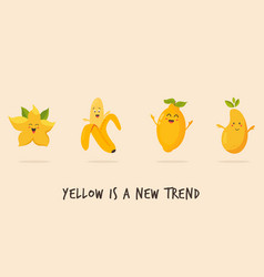 Funny happy yellow character fruits vector