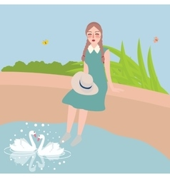 Girl sitting with foot in water looking at two vector