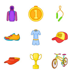 gold medal icons set cartoon style vector image