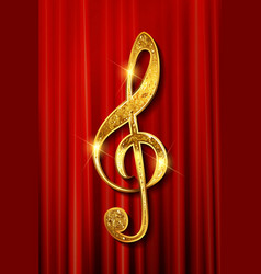 gold ribbon in shape treble clef vector image