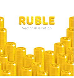 gold rubles piles cartoon template vector image