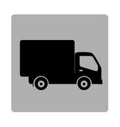 Gray square frame with silhouette transport truck vector