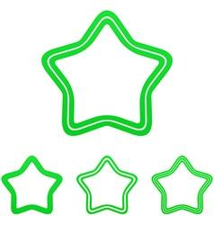 Green line star logo design set vector image