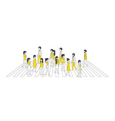 group of people with yellow clothes vector image