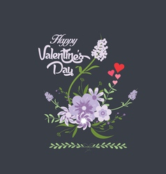 Happy valentines day with flower purple romantic vector