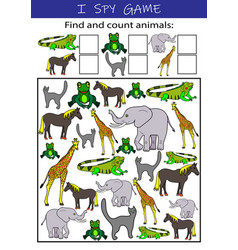 i spy animals educational game for kids vector image
