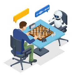 isometric robot playing chess with a man vector image