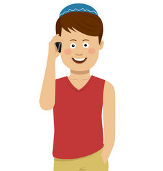 Jewish boy wearing blue bale talking on the phone vector