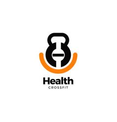kettle bell sport logo design symbol vector image
