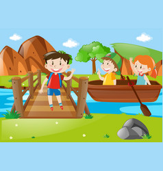 Kids rowing boat in river vector