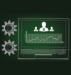 laptop and graph vector image