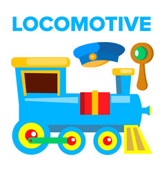 locomotive children toy train road vector image