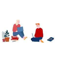man and woman students sit on floor with books vector image
