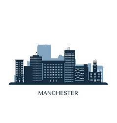 Manchester skyline monochrome silhouette vector