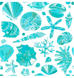 Marine seamless pattern ornate seashells for your vector