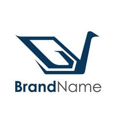 modern luxury swan logo creative concept vector image