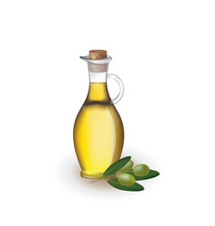 Olive oil in a jar with a fresh olives vector