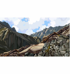 Painted rocky slope at top among mountains vector