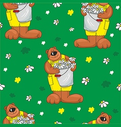 Pattern with bears on a green background vector