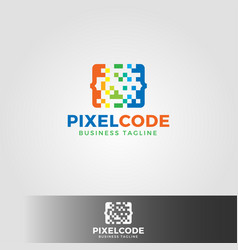 Pixel code logo template vector