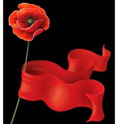poppy and ribbon on black vector image