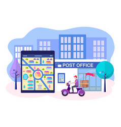 postal employee on a motorbike delivers parcels vector image