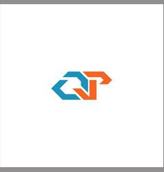 Q p letter logo design on black color background vector