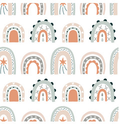 rainbow hand drawn doodles seamless pattern vector image