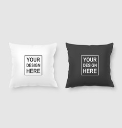 Realistic 3d white and black pillow set vector