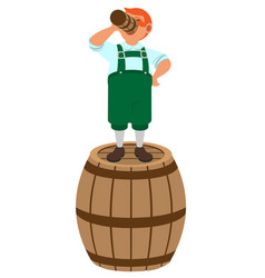 red haired german leprechaun stands on wooden vector image