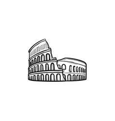 rome coliseum hand drawn outline doodle icon vector image
