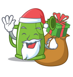 Santa with gift watering can character cartoon vector
