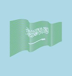 saudi arabia flag on blue background wave vector image