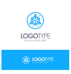 Scale modification design 3d blue logo line style vector