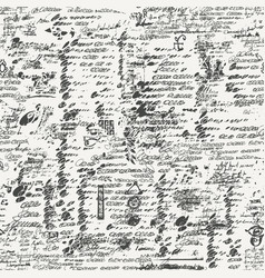Seamless pattern with unreadable handwritten notes vector
