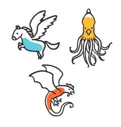 Set cute little cartoon mythical beasts vector