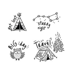 Set of cartoon sticker for camping in vector