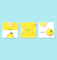 Set of fruit banners with lemon in paper art style vector