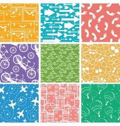 Set of nine seamless patterns backgrounds vector image
