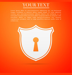 shield with keyhole icon on orange background vector image
