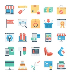 Shopping and E Commerce Colored Icons 7 vector image