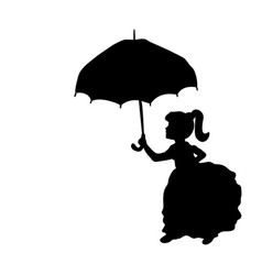 silhouette girl holding umbrella in hands vector image