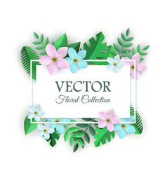 spring white flowers with leaves poster vector image