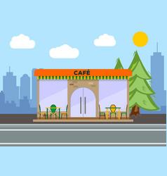 street cafe city landscape concept flat design vector image