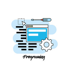 System programming technology with website code vector