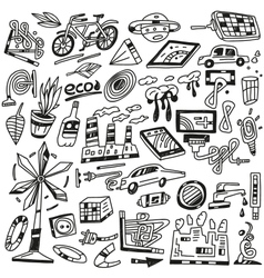 technology ecology - icons vector image