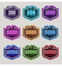 Thank You Followers Badge Set vector image